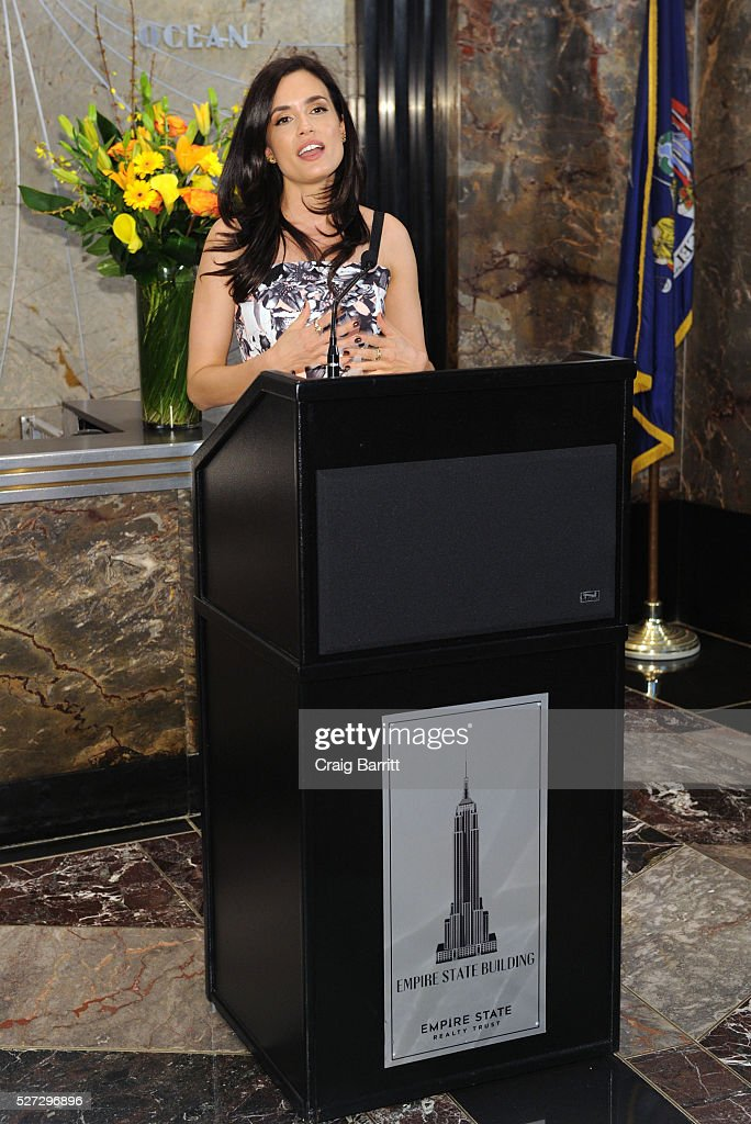 Actress Torrey DeVitto, on behalf of The Hope & Grace Initiative, lights The Empire State Building Green in honor of Mental Health Awareness on May 2, 2016 in New York City.