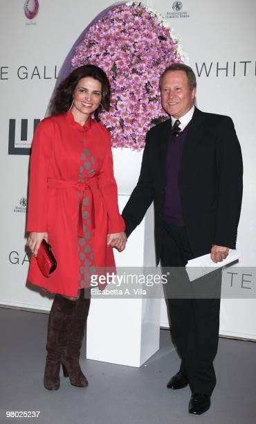 Actress Tosca D'Aquino and Sergio Valente attend 'L'Arte Nell'Uovo Di Pasqua' Charity Event at the White Gallery on March 24 2010 in Rome Italy