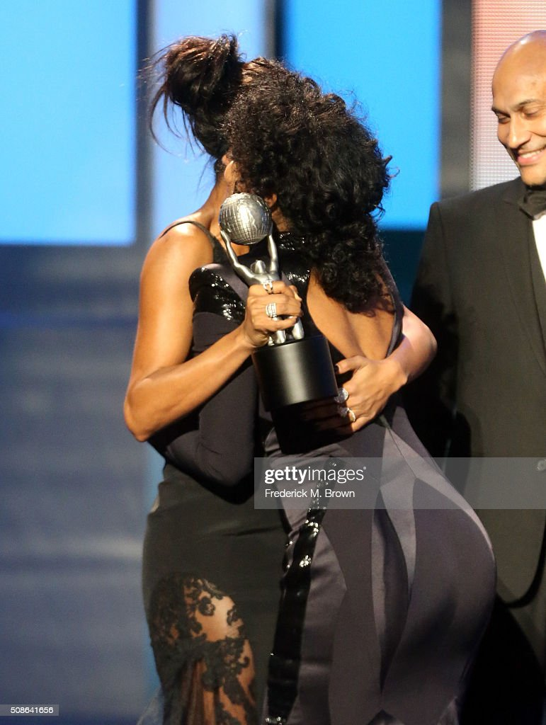 Actress <a gi-track='captionPersonalityLinkClicked' href=/galleries/search?phrase=Tracee+Ellis+Ross&family=editorial&specificpeople=211601 ng-click='$event.stopPropagation()'>Tracee Ellis Ross</a> (C) accepts award for Outstanding Actress in a Comedy Series for 'Black-ish' onstage from actors <a gi-track='captionPersonalityLinkClicked' href=/galleries/search?phrase=Gabrielle+Union&family=editorial&specificpeople=202066 ng-click='$event.stopPropagation()'>Gabrielle Union</a>(L) and <a gi-track='captionPersonalityLinkClicked' href=/galleries/search?phrase=Keegan-Michael+Key&family=editorial&specificpeople=630311 ng-click='$event.stopPropagation()'>Keegan-Michael Key</a> during the 47th NAACP Image Awards presented by TV One at Pasadena Civic Auditorium on February 5, 2016 in Pasadena, California.