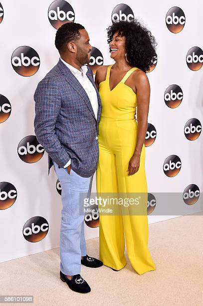 Actress Tracee Ellis Ross and actor Anthony Anderson attend the Disney ABC Television Group TCA Summer Press Tour on August 4 2016 in Beverly Hills...