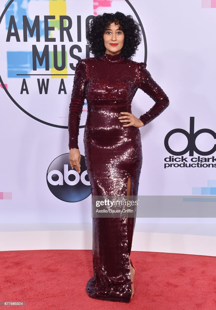 Actress Tracee Ellis Ross arrives at the 2017 American Music Awards at Microsoft Theater on November 19, 2017 in Los Angeles, California.