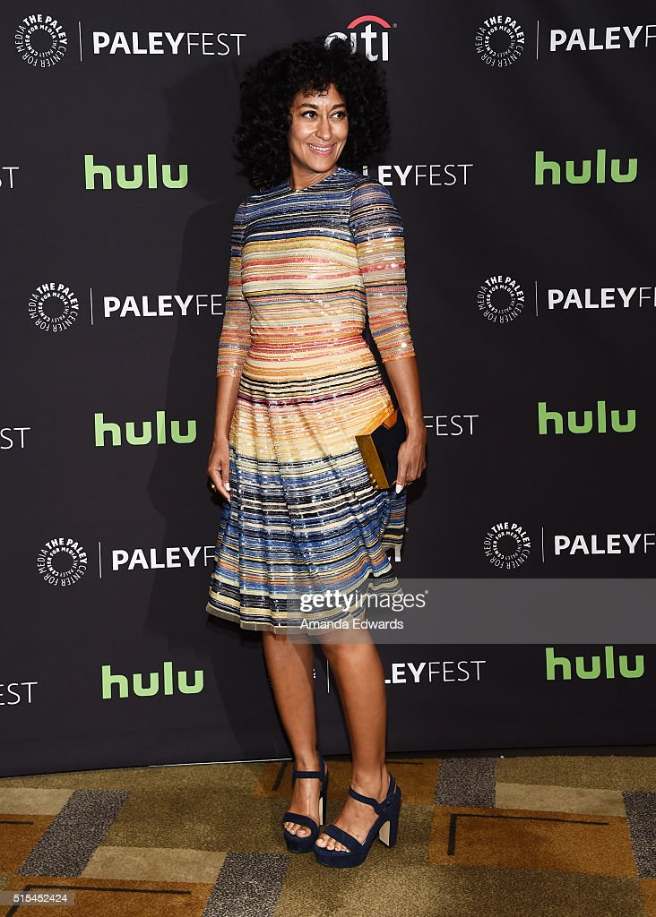Actress Tracee Ellis Ross arrives at The Paley Center For Media's 33rd Annual PaleyFest Los Angeles presentation of 'Blackish' at the Dolby Theatre...