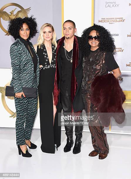 Actress Tracee Ellis Ross singer Ashlee Simpson actor/musician Evan Ross and singer Diana Ross attend the Premiere of Lionsgate's 'The Hunger Games...