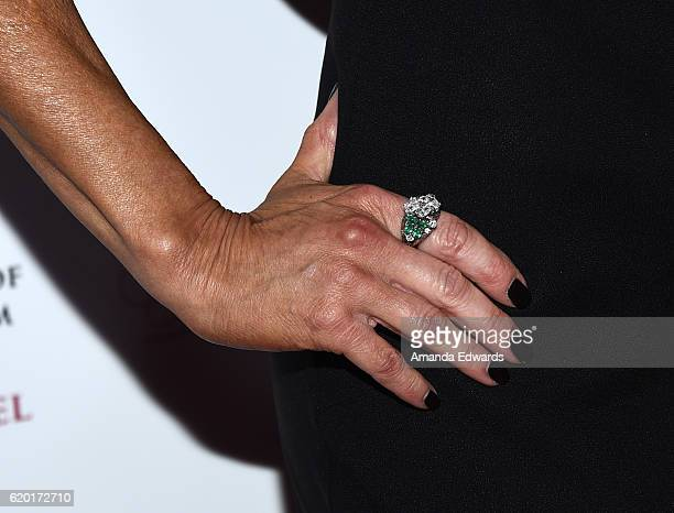 Actress Tracey Bregman ring detail arrives at the 4th Annual Los Angeles Red Star Ball at The Beverly Hilton Hotel on November 1 2016 in Beverly...