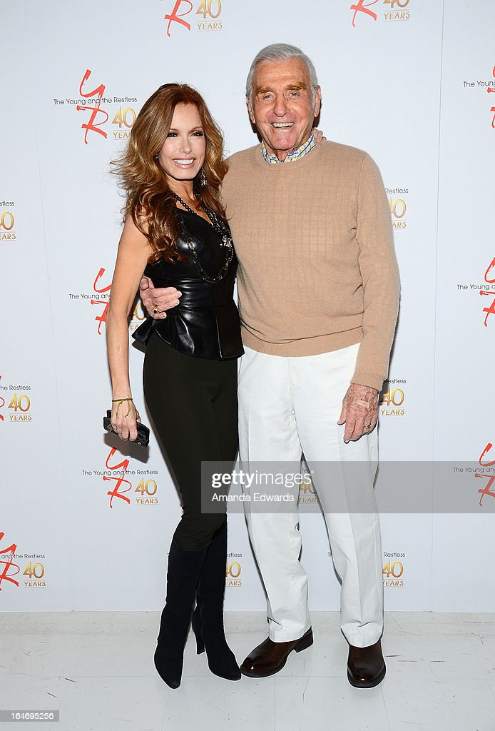 Actress Tracey E. Bregman (L) and actor Jerry Douglas attend the 'The Young & The Restless' 40th anniversary cake-cutting ceremony at CBS Television City on March 26, 2013 in Los Angeles, California.