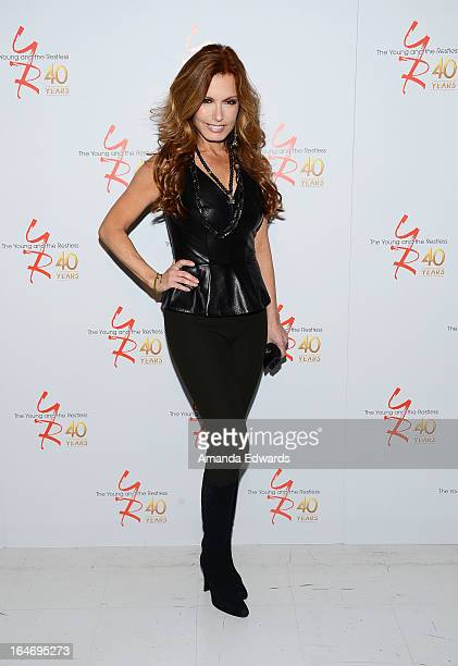 Actress Tracey E Bregman attends the 'The Young The Restless' 40th anniversary cakecutting ceremony at CBS Television City on March 26 2013 in Los...