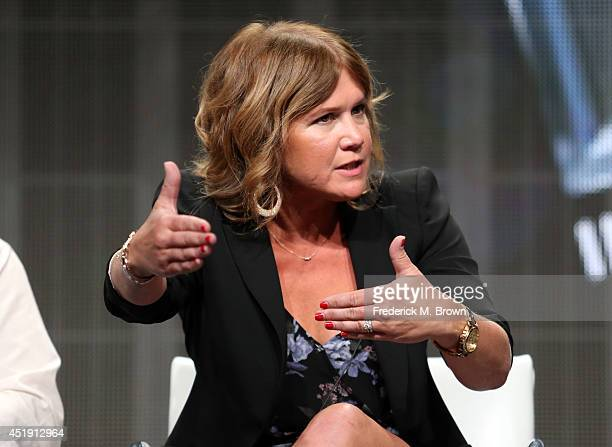 Actress Tracey Gold speaks onstage at the 'Heartbreakers' panel during the Discovery Communications portion of the 2014 Summer Television Critics...