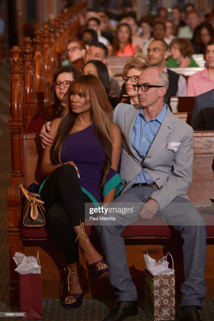 Actress <a gi-track='captionPersonalityLinkClicked' href=/galleries/search?phrase=Traci+Bingham&family=editorial&specificpeople=201504 ng-click='$event.stopPropagation()'>Traci Bingham</a> and producer Devin Hill attend 'Fashion Is Our Sanctuary' Benefit For The One Fund at Old South Church on May 29, 2013 in Boston, Massachusetts.