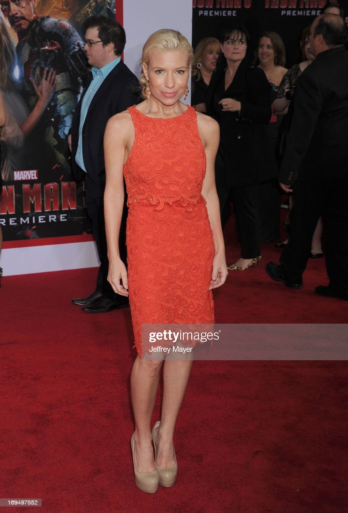 Actress Tracy Anderson arrives at the Los Angeles Premiere of 'Iron Man 3' at the El Capitan Theatre on April 24, 2013 in Hollywood, California.