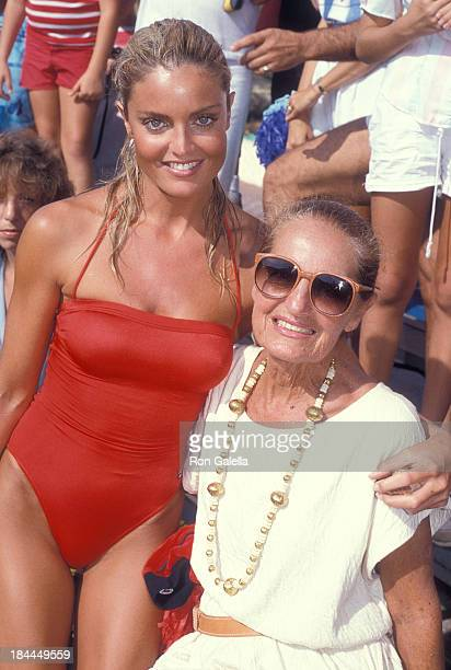 Actress Tracy Scoggins and mother Lucille attend Television Competition Special 'Battle of the Network Stars XVII' on October 3 1984 at Pepperdine...