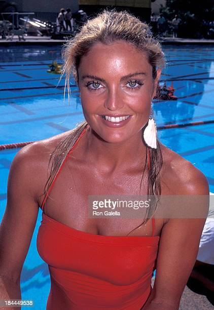 Actress Tracy Scoggins attends Television Competition Special 'Battle of the Network Stars XVII' on October 3 1984 at Pepperdine University in Malibu...