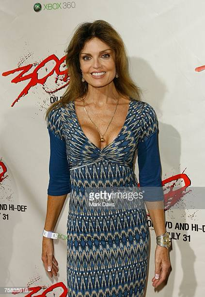 Actress Tracy Scoggins poses for photographers at the DVD release for the '300' held at Petco Park Stadium on July 272007 in San Diego California