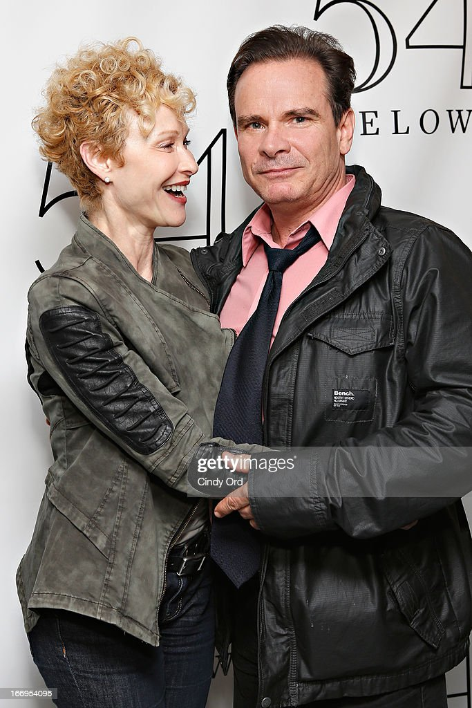 Actress Tracy Shayne and actor Peter Scolari visit backstage following Rita Wilson's performance at 54 Below on April 18, 2013 in New York City.