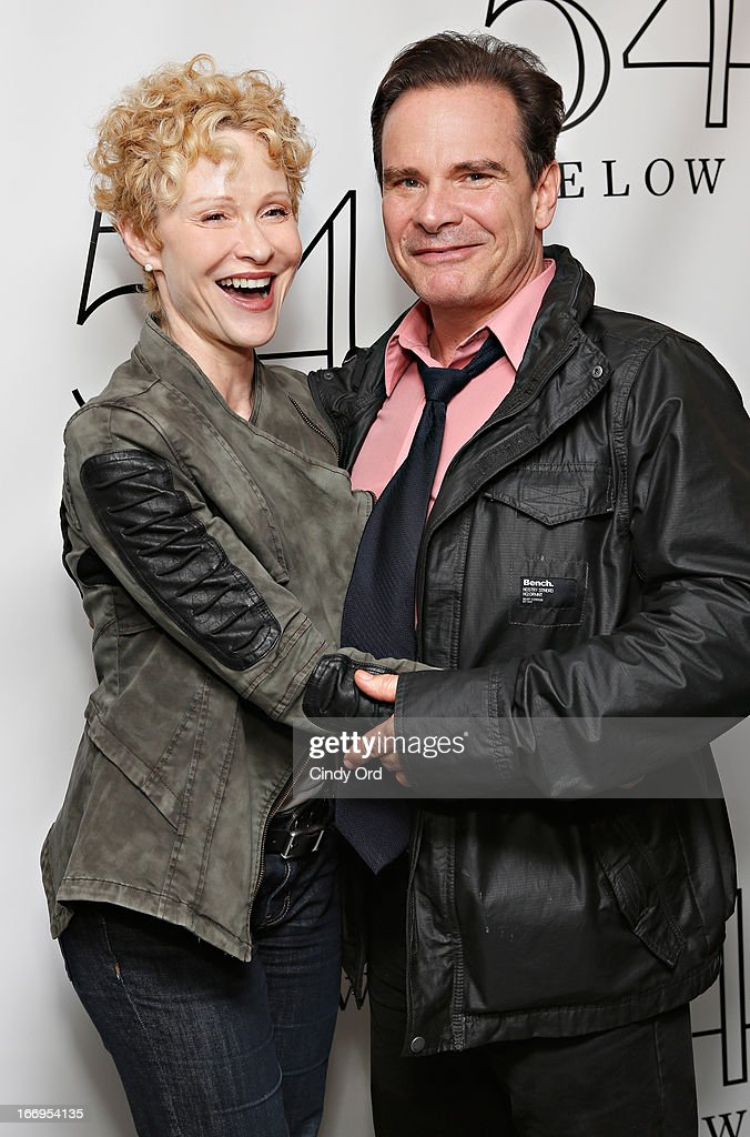 Actress Tracy Shayne and actor <a gi-track='captionPersonalityLinkClicked' href=/galleries/search?phrase=Peter+Scolari&family=editorial&specificpeople=957072 ng-click='$event.stopPropagation()'>Peter Scolari</a> visit backstage following Rita Wilson's performance at 54 Below on April 18, 2013 in New York City.