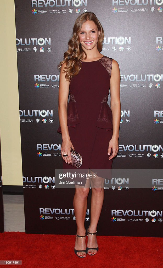 Actress Tracy Spiridakos attends the 'Revolution The Power of Entertainment' Season 2 Premiere at the United Nations Headquarters on September 17...