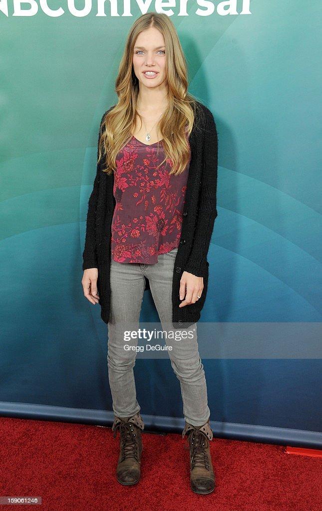 Actress Tracy Spiridakos poses at the 2013 NBC Universal TCA Winter Press Tour Day 1 at The Langham Huntington Hotel and Spa on January 6, 2013 in Pasadena, California.