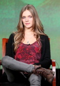 Actress Tracy Spiridakos speaks onstage at the 'Revolution' panel session during the NBCUniversal portion of the 2013 Winter TCA Tour Day 3 at the...