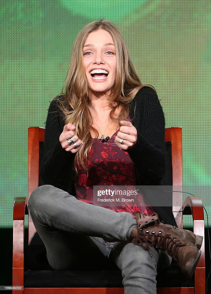 Actress Tracy Spiridakos speaks onstage at the 'Revolution' panel session during the NBCUniversal portion of the 2013 Winter TCA Tour- Day 3 at the Langham Hotel on January 6, 2013 in Pasadena, California.