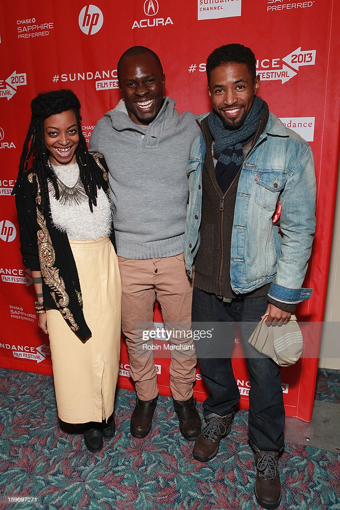 Actress Trae Harris, producer <a gi-track='captionPersonalityLinkClicked' href=/galleries/search?phrase=Gbenga+Akinnagbe&family=editorial&specificpeople=2293588 ng-click='$event.stopPropagation()'>Gbenga Akinnagbe</a> and actor Amari Cheatom attend the 'Newlyweeds' Premiere at Prospector Square on January 18, 2013 in Park City, Utah.