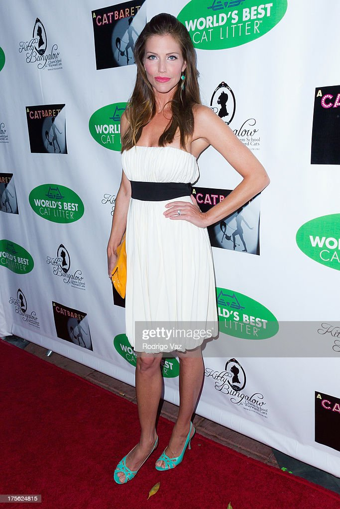 Actress <a gi-track='captionPersonalityLinkClicked' href=/galleries/search?phrase=Tricia+Helfer&family=editorial&specificpeople=227945 ng-click='$event.stopPropagation()'>Tricia Helfer</a> arrives at 'CATberet' - A Musical Review for local cat and kitten rescue center Kitty Bungalow Charm School For Wayward Cats at Belasco Theatre on August 4, 2013 in Los Angeles, California.