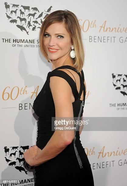 Actress Tricia Helfer arrives at The Humane Society Of The United States 60th anniversary benefit gala at The Beverly Hilton Hotel on March 29 2014...