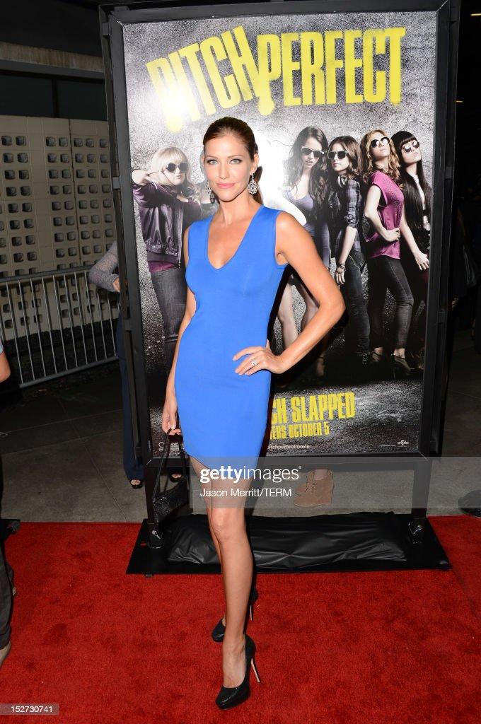 Actress Tricia Helfer arrives at the premiere of Universal Pictures And Gold Circle Films' 'Pitch Perfect' at ArcLight Cinemas on September 24, 2012 in Hollywood, California.