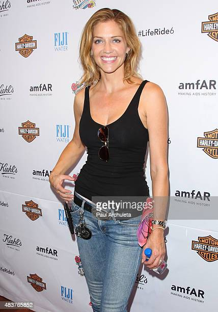 Actress Tricia Helfer attends the 6th Annual Kiehl's LifeRide for amfAR celebration at Kiehl's Since 1851 on August 12 2015 in Santa Monica California