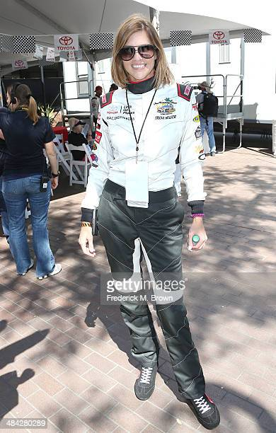 Actress Tricia Helfer attends the qualifying segment of the 37th Annual Toyota Pro/Celebrity Race on April 11 2014 in Long Beach California