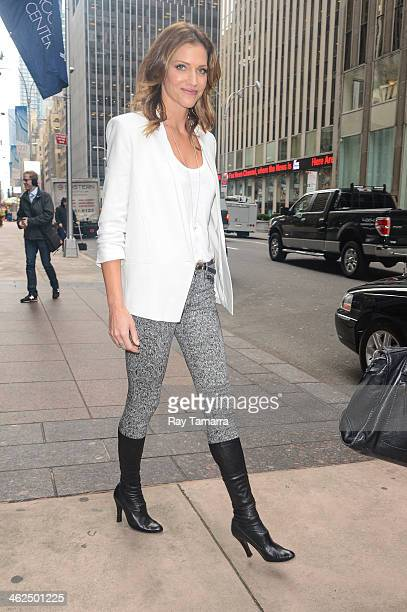 Actress Tricia Helfer leaves Sirius XM Studio on January 13 2014 in New York City