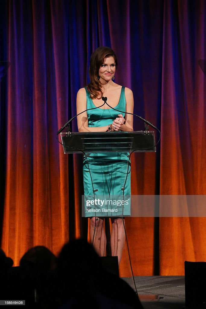 Actress <a gi-track='captionPersonalityLinkClicked' href=/galleries/search?phrase=Tricia+Helfer&family=editorial&specificpeople=227945 ng-click='$event.stopPropagation()'>Tricia Helfer</a> speaks on stage during The Humane Society of the United States' To the Rescue! New York Gala at Cipriani 42nd Street on December 18, 2012 in New York City.