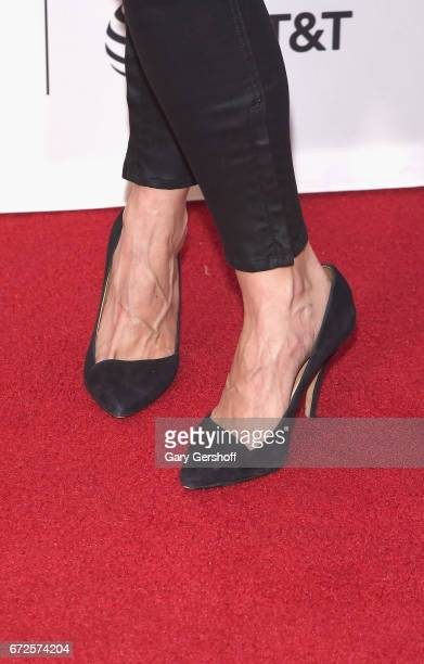 Actress Trieste Kelly Dunn shoe detailattends the 'Devil's Gate' screening during the 2017 Tribeca Film Festival at Cinepolis Chelsea on April 24...