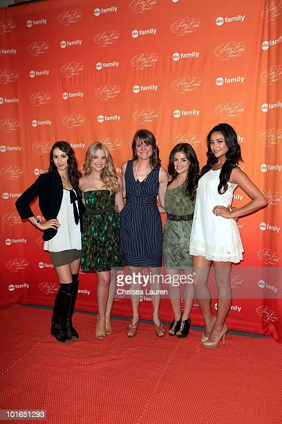 Actress Troian Avery Bellisario actress Ashley Benson author Sara Shepard actress Lucy Hale and actress Shay Mitchell attend the 'Pretty Little...