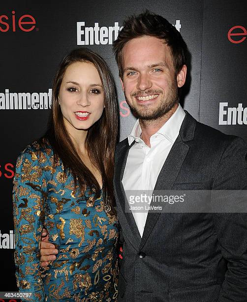 Actress Troian Bellisario and actor Patrick J Adams attend the Entertainment Weekly SAG Awards preparty at Chateau Marmont on January 17 2014 in Los...
