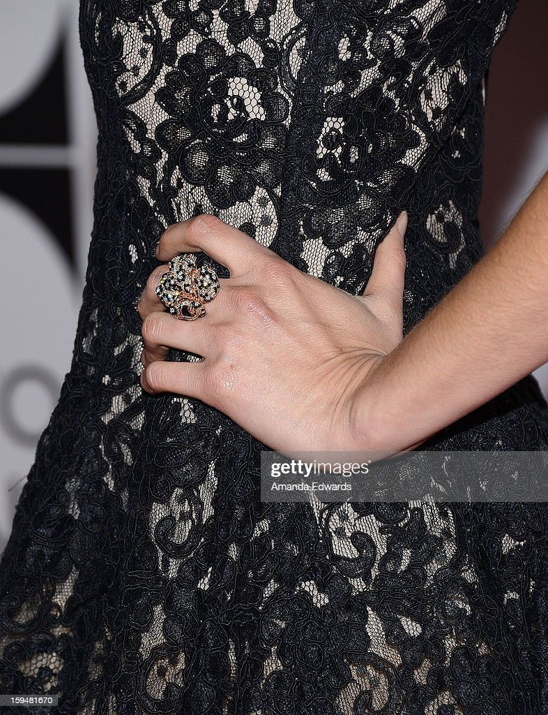 Actress Troian Bellisario (ring detail) arrives at the NBC Universal's 70th Golden Globes After Party at The Beverly Hilton Hotel on January 13, 2013 in Beverly Hills, California.