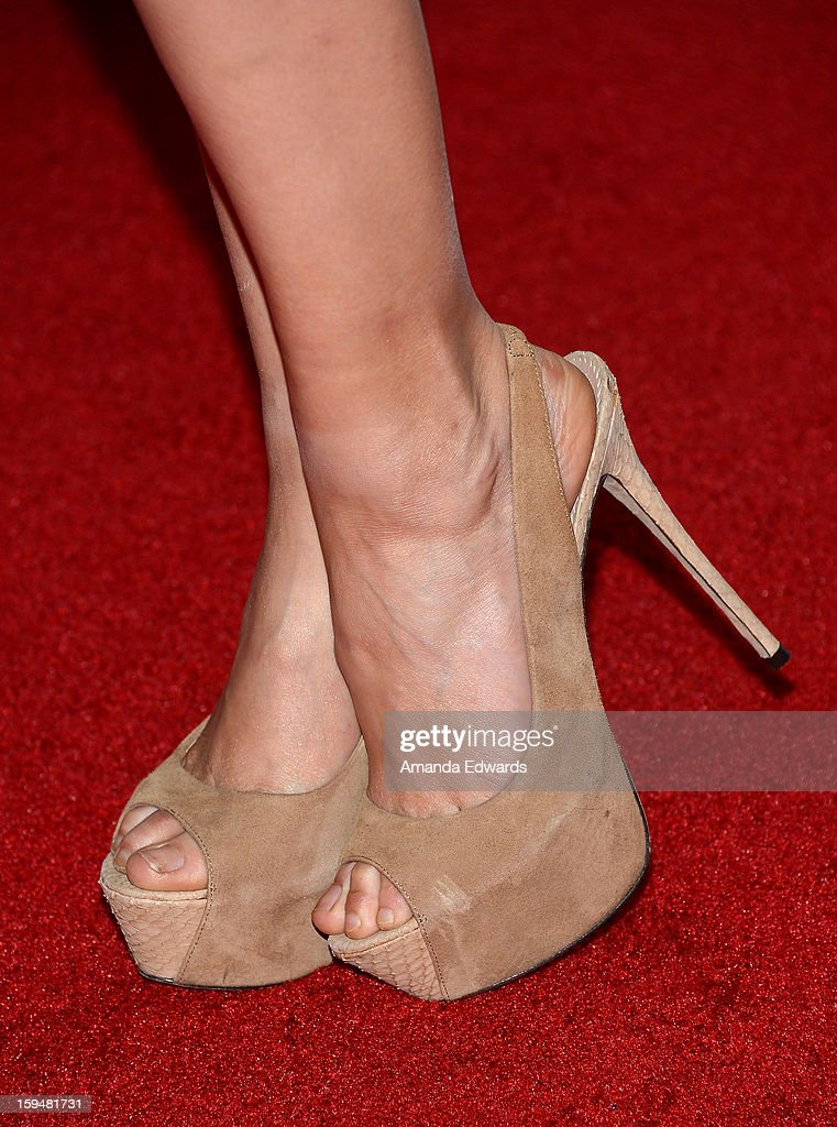 Actress Troian Bellisario (shoe detail) arrives at the NBC Universal's 70th Golden Globes After Party at The Beverly Hilton Hotel on January 13, 2013 in Beverly Hills, California.