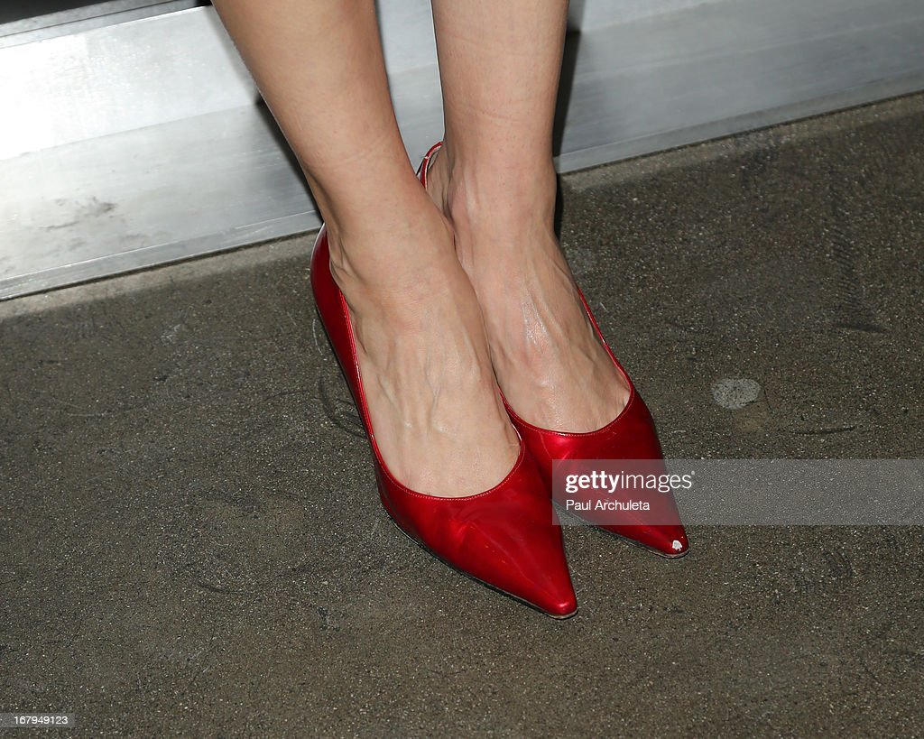 Actress Troian Bellisario (Shoe Detail) attends the one year anniversary celebration for the WIGS digital channel at Akasha Restaurant on May 2, 2013 in Culver City, California.