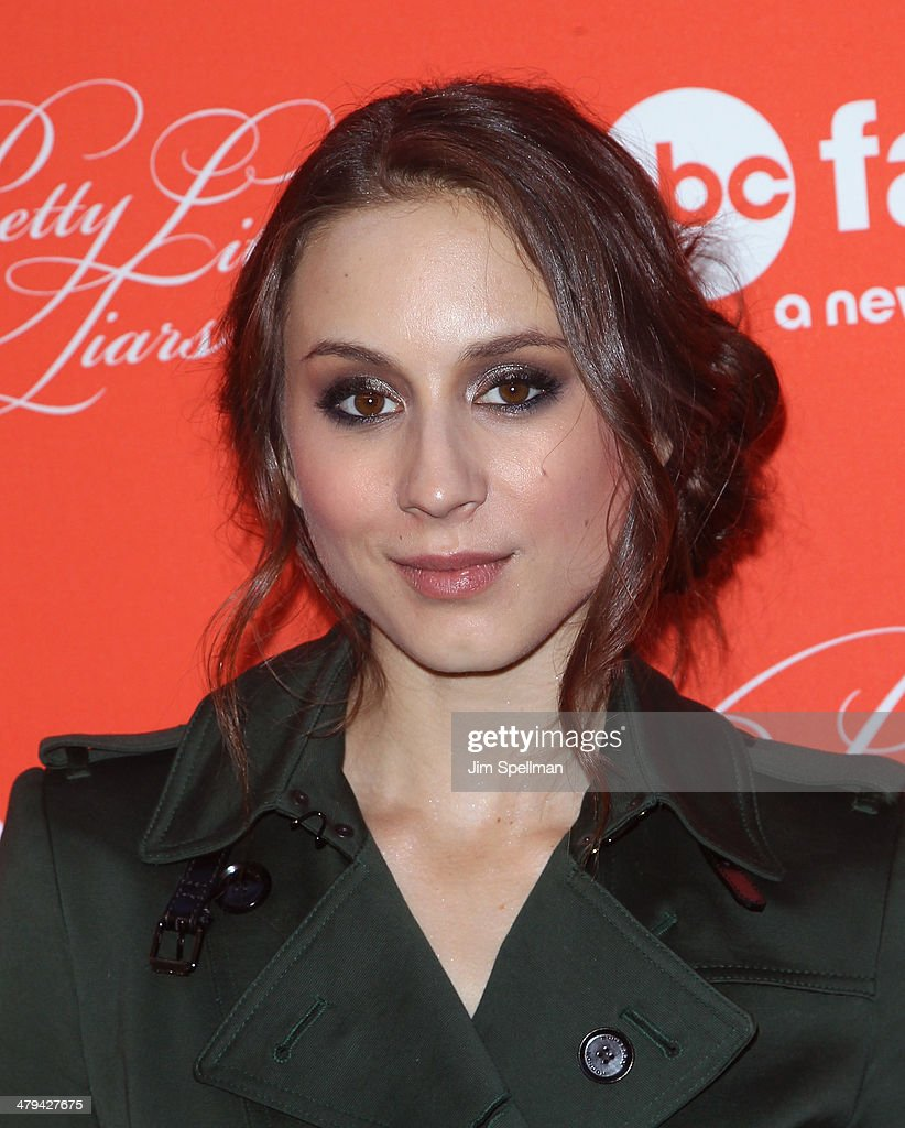 Actress <a gi-track='captionPersonalityLinkClicked' href=/galleries/search?phrase=Troian+Bellisario&family=editorial&specificpeople=6886214 ng-click='$event.stopPropagation()'>Troian Bellisario</a> attends the 'Pretty Little Liars' season finale screening at Ziegfeld Theater on March 18, 2014 in New York City.