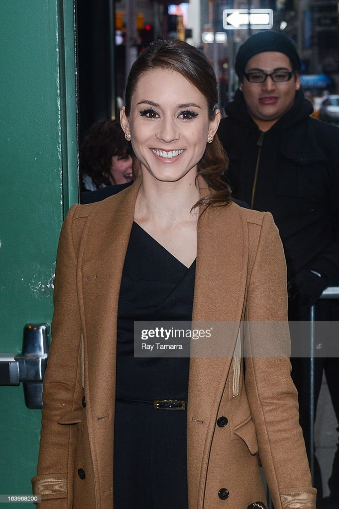 Actress Troian Bellisario enters the 'Good Morning America' taping at the ABC Times Square Studios on March 18, 2013 in New York City.