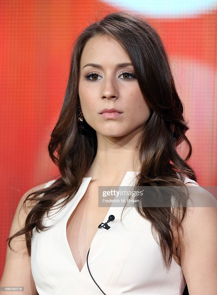Actress Troian Bellisario of 'Pretty Little Liars' speaks onstage during the ABC portion of the 2013 Winter TCA Tour at Langham Hotel on January 10, 2013 in Pasadena, California.