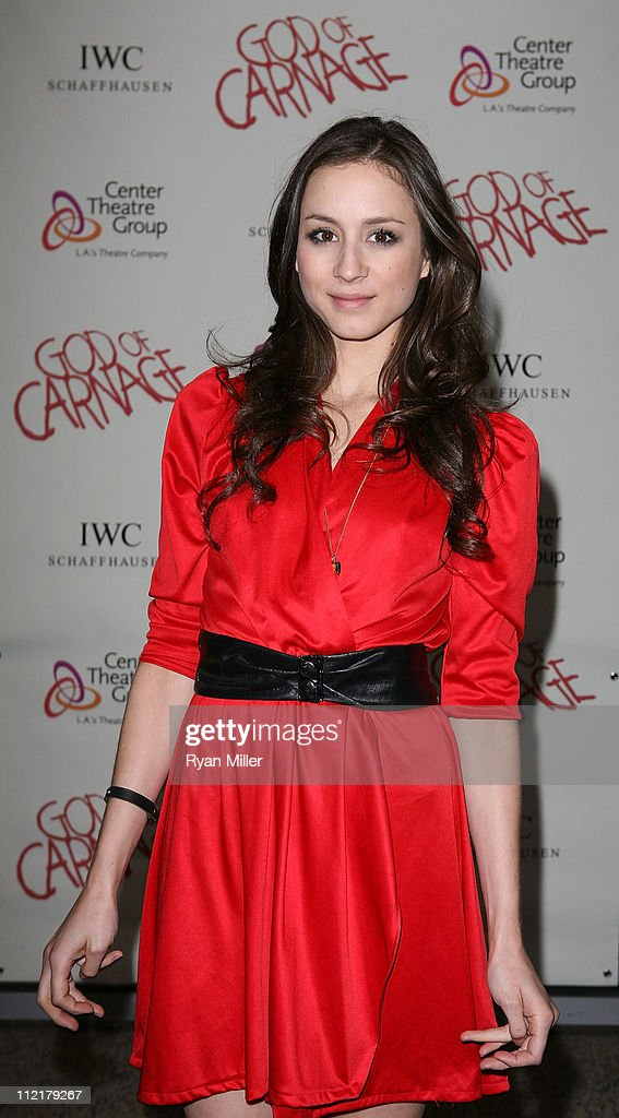 Actress <a gi-track='captionPersonalityLinkClicked' href=/galleries/search?phrase=Troian+Bellisario&family=editorial&specificpeople=6886214 ng-click='$event.stopPropagation()'>Troian Bellisario</a> poses during the arrivals for the opening night performance of 'God of Carnage' at Center Theatre Group's Ahmanson Theatre on April 13, 2011 in Los Angeles, California.