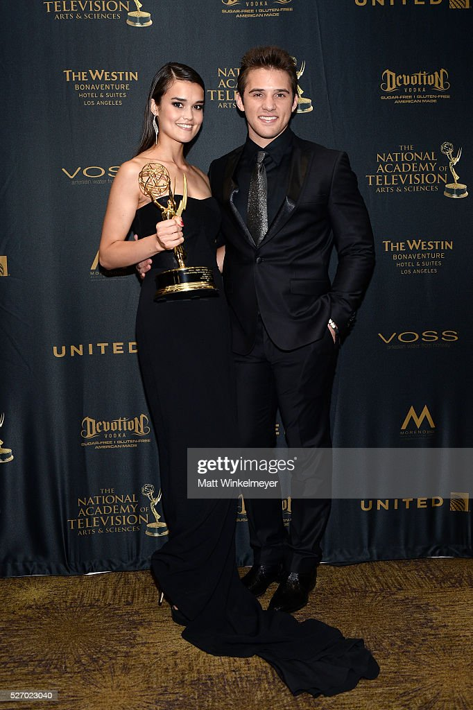 Actress True O'Brien (L) and actor Casey Moss poses in the press room at the 43rd Annual Daytime Emmy Awards at the Westin Bonaventure Hotel on May 1, 2016 in Los Angeles, California.