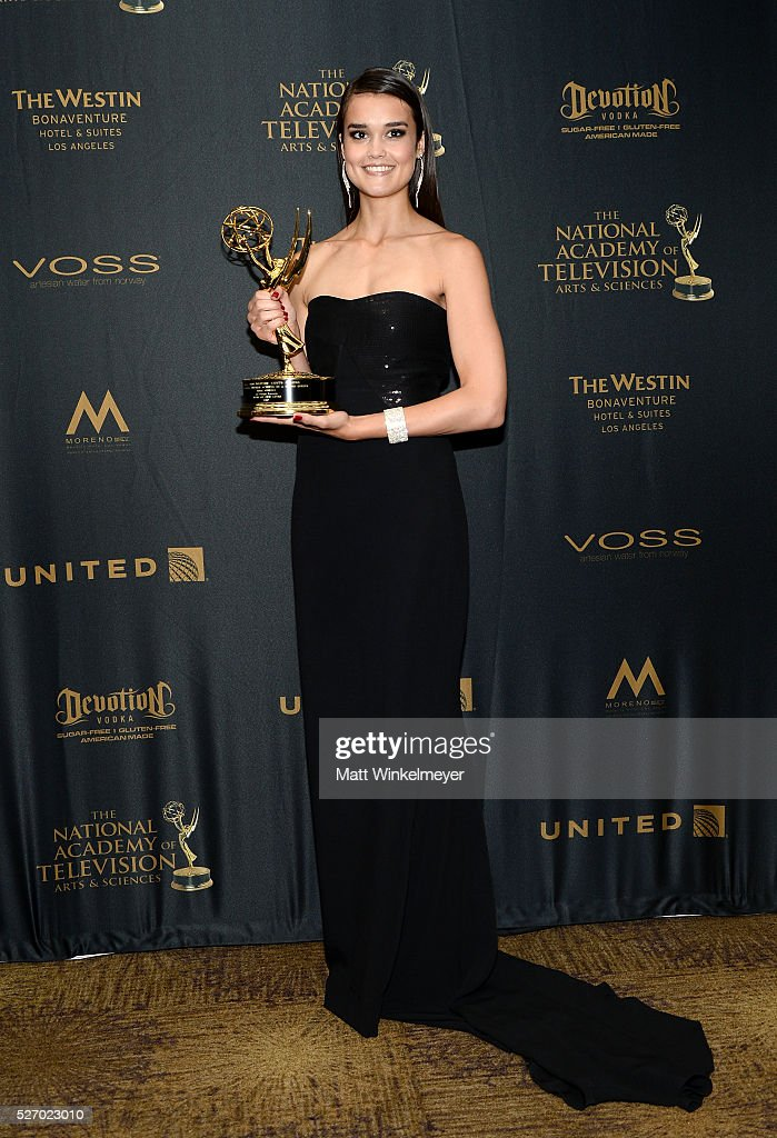 Actress True O'Brien poses in the press room at the 43rd Annual Daytime Emmy Awards at the Westin Bonaventure Hotel on May 1, 2016 in Los Angeles, California.
