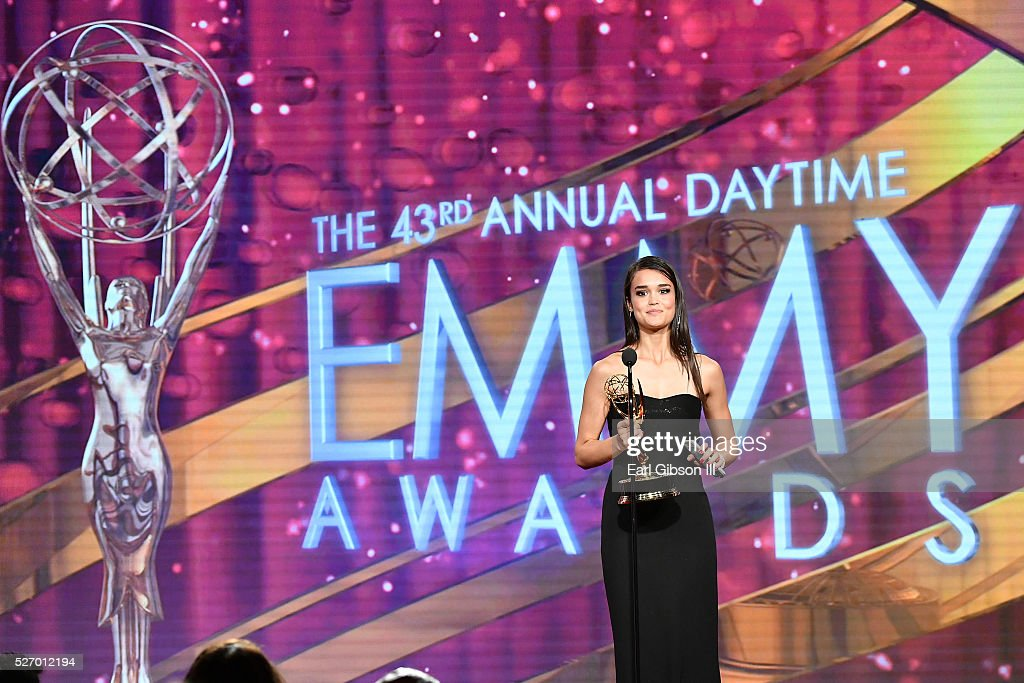 Actress True O'Brien speaks onstage at the 43rd Annual Daytime Emmy Awards at the Westin Bonaventure Hotel on May 1, 2016 in Los Angeles, California.