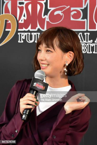Actress Tsubasa Honda attends the opening ceremony of the Fullmetal Alchemist exhibition at Tokyo Dome City Gallery AaMo on September 14 2017 in...