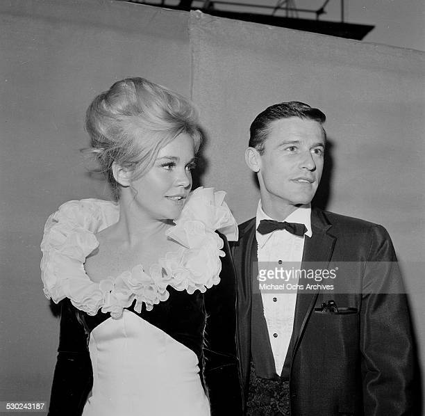 Actress Tuesday Weld with Roddy McDowall attend an event in Los AngelesCA