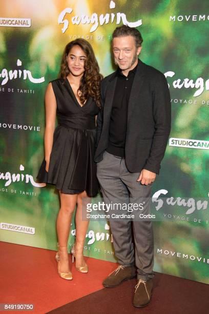 Actress Tuhe Adams and actor Vincent Cassel attend the 'Gauguin Voyage De Tahiti' Paris Premiere at Cinema Gaumont Capucine on September 18 2017 in...