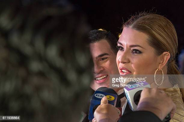 Actress TV host Singer Beauty Queen and former Miss Universe Alicia Machado is interviewed as she arrives at the Metropolitan Fashion Week 2016...