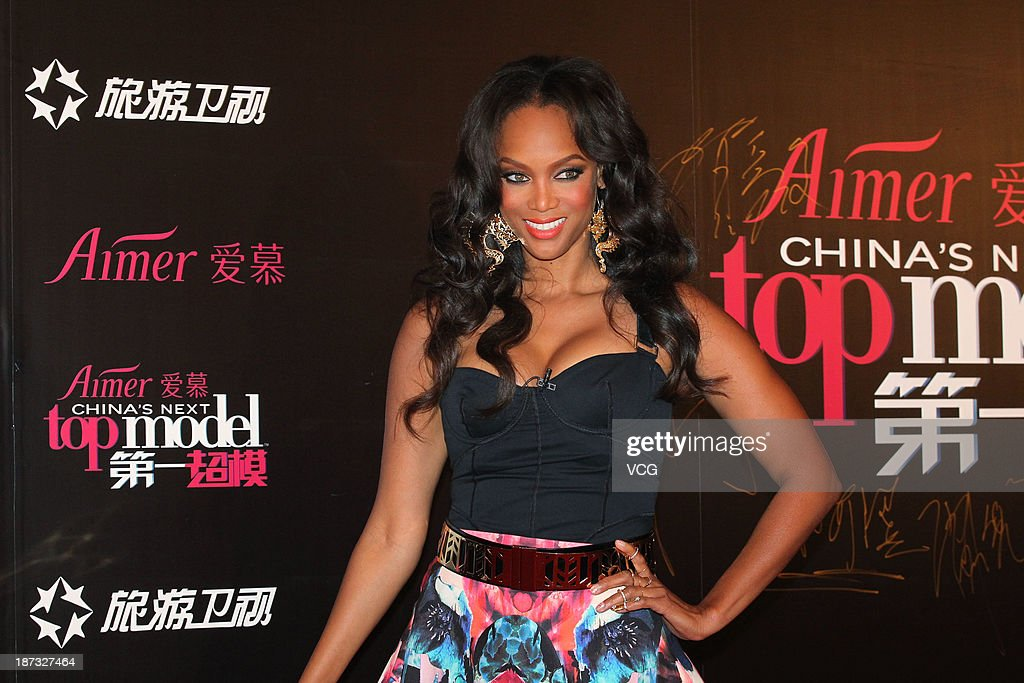 Actress <a gi-track='captionPersonalityLinkClicked' href=/galleries/search?phrase=Tyra+Banks&family=editorial&specificpeople=202216 ng-click='$event.stopPropagation()'>Tyra Banks</a> attends the Aimer China's Next Top Model Contest at China World Summit Wing on November 7, 2013 in Beijing, China.