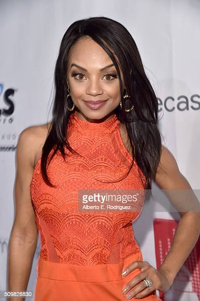 Actress Tyra Colar attends the PE Wing Event honoring Rick Rubin at The Villiage Studios on February 11 2016 in Los Angeles California