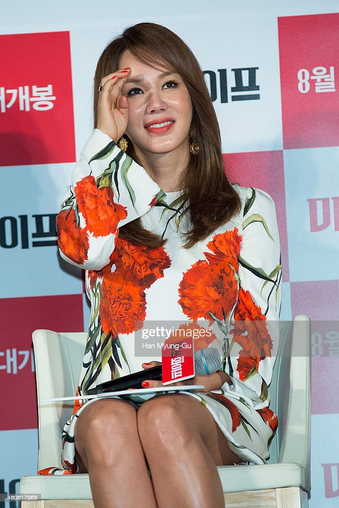Actress Uhm Jung-Hwa attends the press conference for 'Miss Wife' at MEGA Box on July 13, 2015 in Seoul, South Korea. The film will open on August 13, in South Korea.